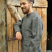 Одежда ручной работы. Ярмарка Мастеров - ручная работа Мужская рубашка из графитового льна. Handmade.