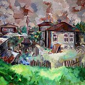 Холст масло Тюменские домики