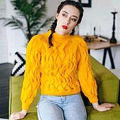 Одежда handmade. Livemaster - original item Women`s WAVE yellow sweater. Handmade.