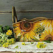 Короб большой  Подсолнухи для лука,чеснока,овощей в стиле кантри