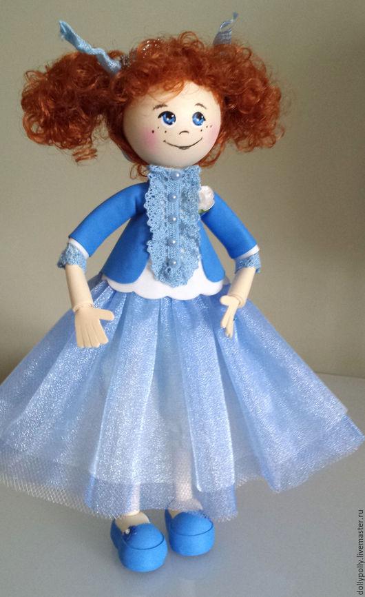 Коллекционные куклы ручной работы. Ярмарка Мастеров - ручная работа. Купить Маленькая принцесса(повтор). Handmade. Голубой, кукла из фоамирана, Рыжая