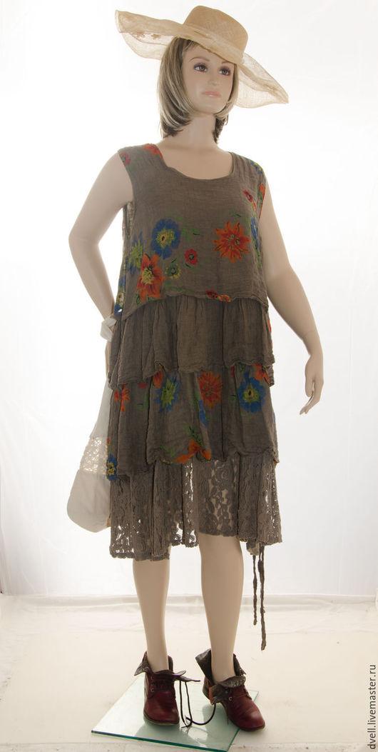 Большие размеры ручной работы. Ярмарка Мастеров - ручная работа. Купить Бохо платье Цветник коричневый лён натур кружева для супер женщин XXXL. Handmade.