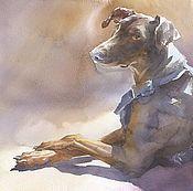 """Картины и панно ручной работы. Ярмарка Мастеров - ручная работа Картина """"Брунгильда"""". Акварель.Большая картина в раме.Собака, доберман. Handmade."""