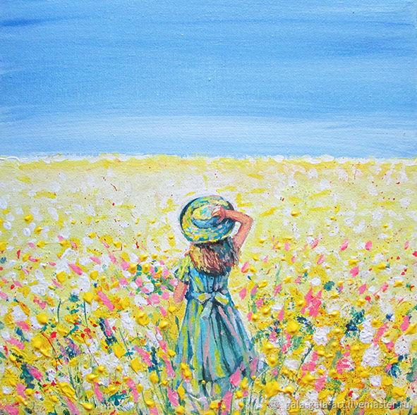 Девочка в шляпе с полевыми цветами, Картины, Новокузнецк,  Фото №1