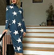 Одежда ручной работы. Ярмарка Мастеров - ручная работа Платье трикотажное белые звезды на джинсе. Handmade.