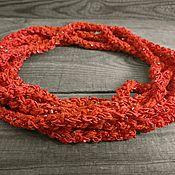 Украшения handmade. Livemaster - original item Beads Scarf Lariat Choker Belt Braided Knitted Bracelet Red. Handmade.