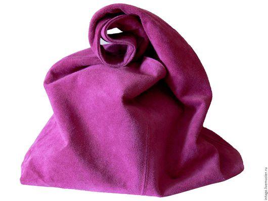 """Женские сумки ручной работы. Ярмарка Мастеров - ручная работа. Купить """"Розовая магия"""" сумка-мешок замшевая. Handmade. Фуксия"""