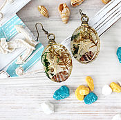 Украшения handmade. Livemaster - original item Transparent earrings seabed. Handmade.