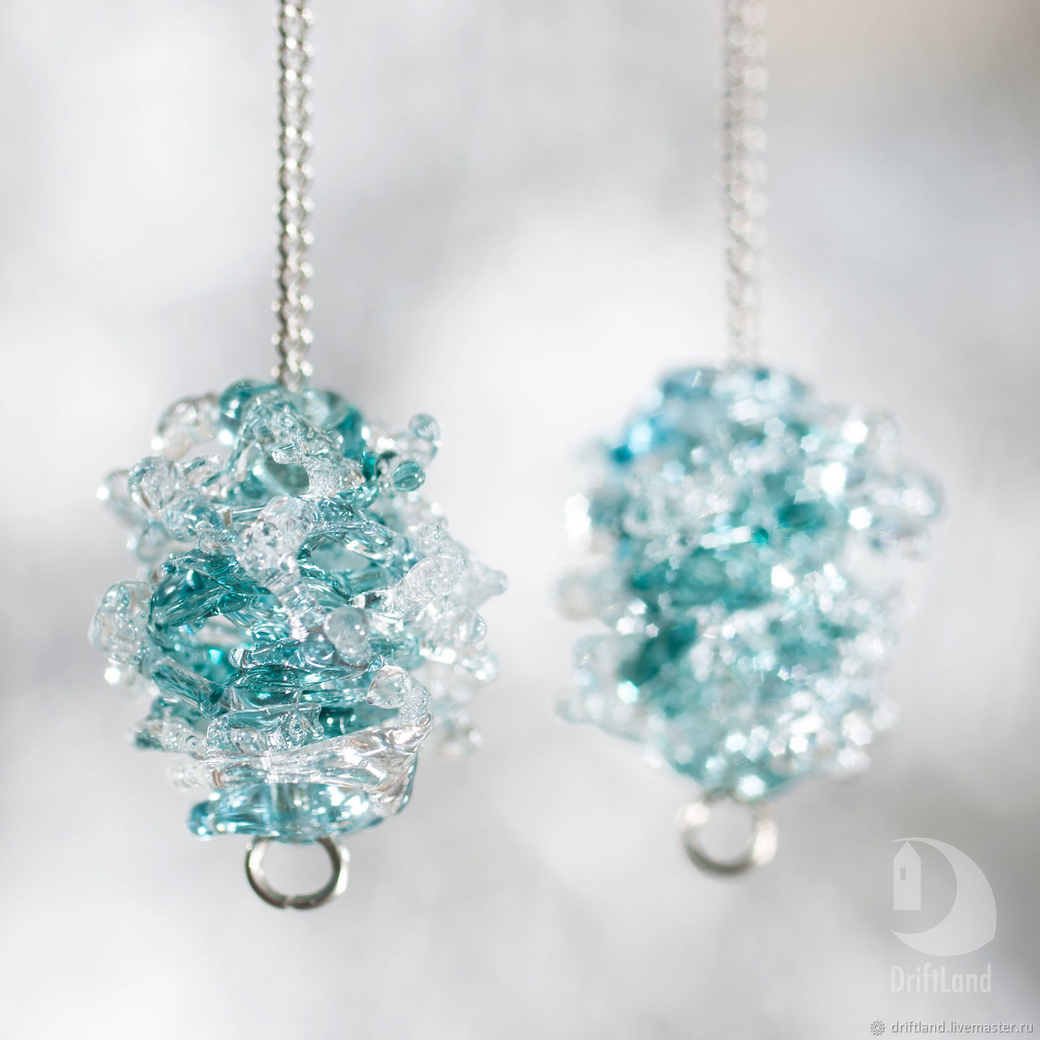 Earrings Wave and the wind (turquoise), Earrings, St. Petersburg,  Фото №1