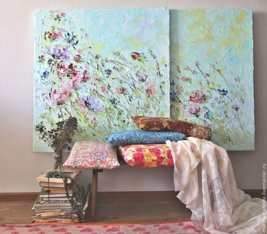 Большая картина, большая картина маслом, большой диптих, картина для сиреневой фиолетовой кухни, картина на кухню, современная кухня картина декор, большая картина с цветами полевыми сиреневыми Сирене
