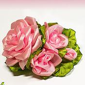 Заколки ручной работы. Ярмарка Мастеров - ручная работа Заколка-автомат с атласными розами. Handmade.