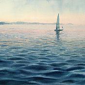 Картины и панно handmade. Livemaster - original item Watercolor painting Landscape with sailboat. Seascape.. Handmade.