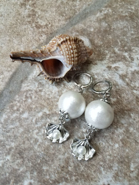 Earrings made of pearl cotton soft and WHITE, Earrings, Ashkelon,  Фото №1