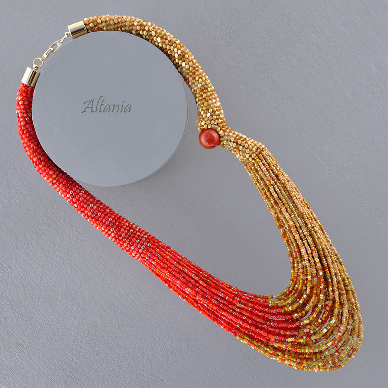 Autumn, red-haired girlfriend (s) is a beaded necklace, Necklace, Sarov,  Фото №1