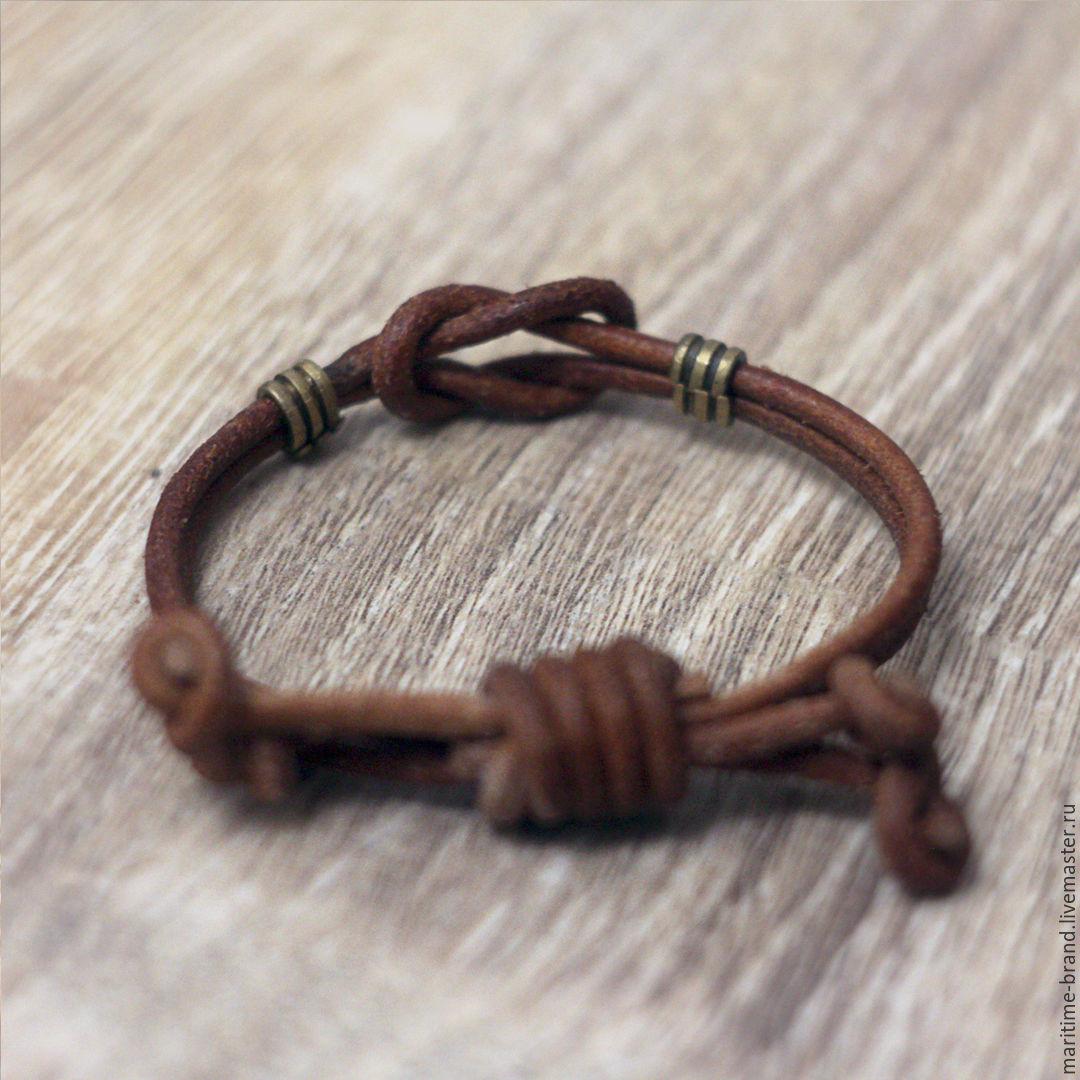 Мужской Кожаный Браслет на руку с Кельтским Узлом - Символ Любви