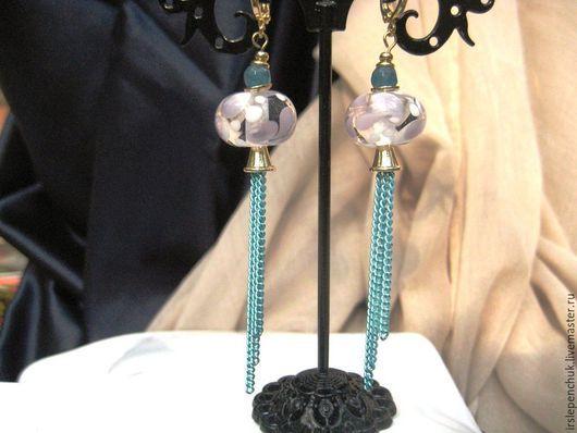 """Серьги ручной работы. Ярмарка Мастеров - ручная работа. Купить серьги""""Водопад"""". Handmade. Разноцветный, муранское стекло"""