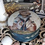 Для дома и интерьера ручной работы. Ярмарка Мастеров - ручная работа Морячок, шкатулка (17 см) (декупаж). Handmade.