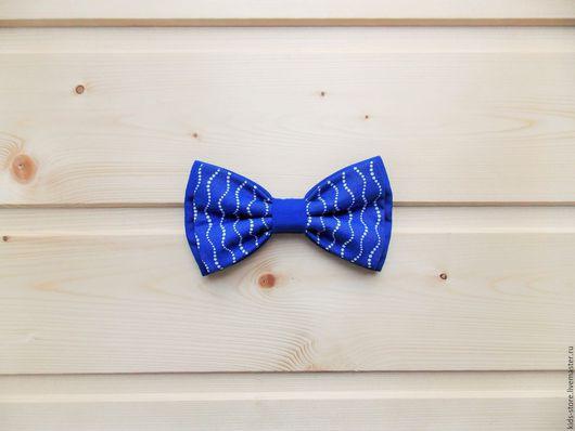 """Детские аксессуары ручной работы. Ярмарка Мастеров - ручная работа. Купить Детская галстук бабочка """"Волны"""" / синяя бабочка галстук. Handmade."""