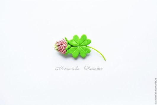 """Броши ручной работы. Ярмарка Мастеров - ручная работа. Купить Клевер  четырёхлистник """" на удачу"""" (брошь). Handmade. Зеленый, на удачу"""