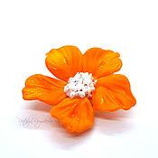 handmade. Livemaster - original item Lampwork orange flower bead. Handmade.