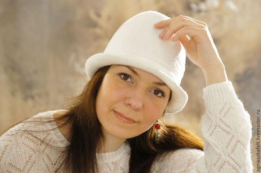 """Шляпы ручной работы. Ярмарка Мастеров - ручная работа. Купить Шляпка """"Белый день"""". Handmade. Белый, шляпка валяная, чистота"""