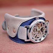 ручной работы. Ярмарка Мастеров - ручная работа Наручные синие серые механические часы Manshe Blue скелетон. Handmade.
