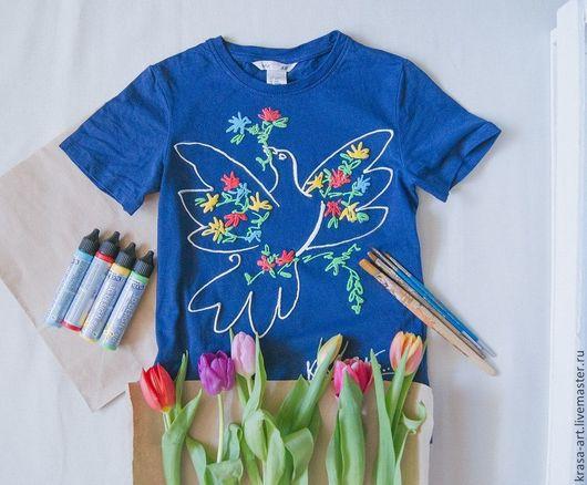Футболки, майки ручной работы. Ярмарка Мастеров - ручная работа. Купить футболка детская Голубь Мира. Handmade. Разноцветный, абстракция
