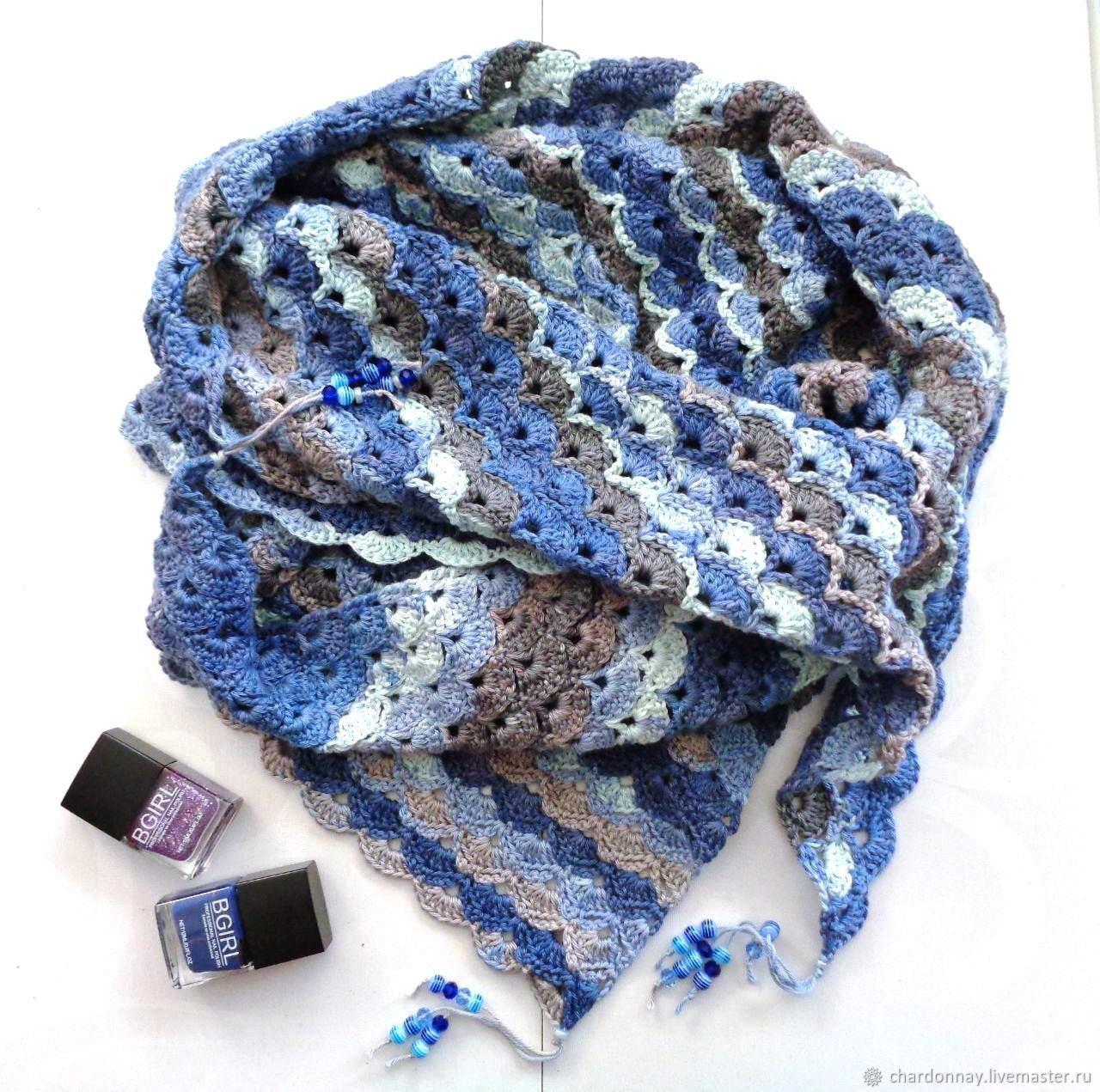 """Шали, палантины ручной работы. Ярмарка Мастеров - ручная работа. Купить Шали: Бактус """"Синий иней"""" (подарок, шаль, платок, снуд). Handmade."""