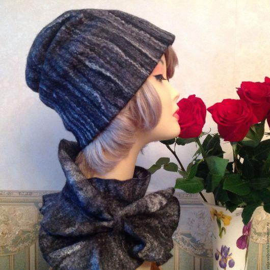 Шапки ручной работы. Ярмарка Мастеров - ручная работа. Купить Валяная шапочка с шарфиком. Handmade. Черный, шарф женский