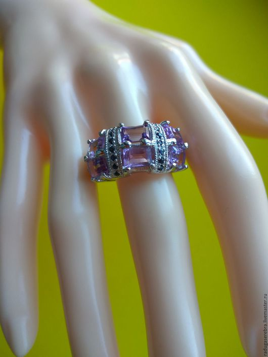 Кольца ручной работы. Ярмарка Мастеров - ручная работа. Купить Серебряное кольцо с аметистами и сапфирами. Handmade. Комбинированный, серебряное кольцо