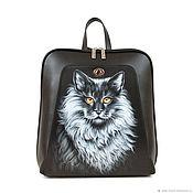 handmade. Livemaster - original item Womens flat leather backpack