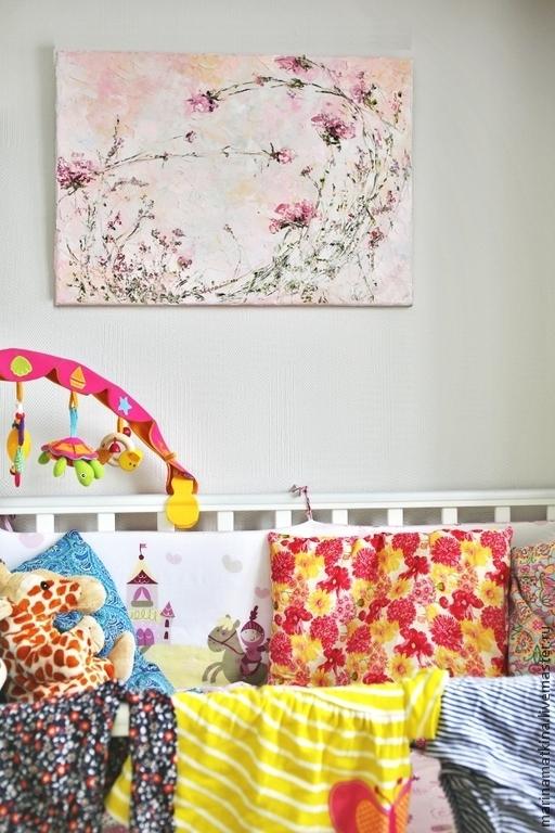 интерьер детской комнаты для девочки, картина с цветами тюльпаны, нежная легкая весенняя воздушная розовая нежно розовая картина маслом на холсте с подрамником для интерьера в стиле шебби шик, романти