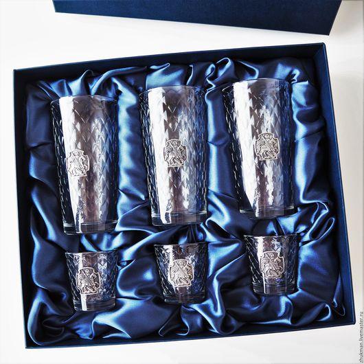 """Подарки для мужчин, ручной работы. Ярмарка Мастеров - ручная работа. Купить Набор """"ГЕОРГИЕВСКИЙ"""" - 3 стакана и 3 стопки с накладкой Святой Георгий. Handmade."""