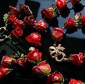 """Украшения ручной работы. Ярмарка Мастеров - ручная работа Комплект """" Розы в осеннем саду """", Лэмпворк,коралл, позолота. Handmade."""
