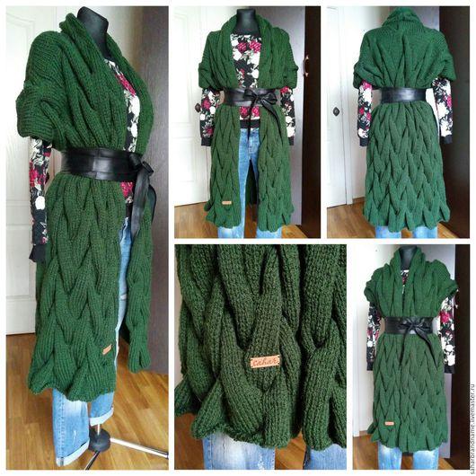 Верхняя одежда ручной работы. Ярмарка Мастеров - ручная работа. Купить Жилет вязаный объемный длинный косами. Handmade.