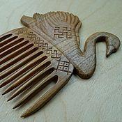 """Гребень ручной работы. Ярмарка Мастеров - ручная работа Гребень """"Лебёдушка"""", деревянный гребень, резной гребень. Handmade."""