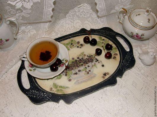 """Кухня ручной работы. Ярмарка Мастеров - ручная работа. Купить Поднос """"Ежевичный чай"""". Handmade. Тёмно-синий, кантри"""