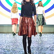Одежда handmade. Livemaster - original item Skirt eco-leather brindle brown. Handmade.
