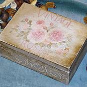 """Для дома и интерьера ручной работы. Ярмарка Мастеров - ручная работа Шкатулка """"Vintage Roses"""". Handmade."""