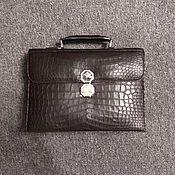 Сумки и аксессуары handmade. Livemaster - original item Men`s briefcase, crocodile leather, dark brown.. Handmade.