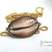 Украшения handmade. Livemaster - original item Pendant with seashell cowrie Cypraea bistrinotata gilded. Handmade.