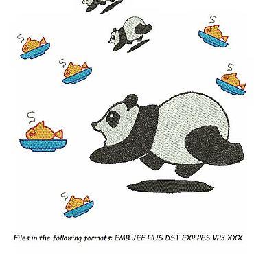 """Материалы для творчества ручной работы. Ярмарка Мастеров - ручная работа Дизайн для машинной вышивки """"Panda&Fish"""". Handmade."""