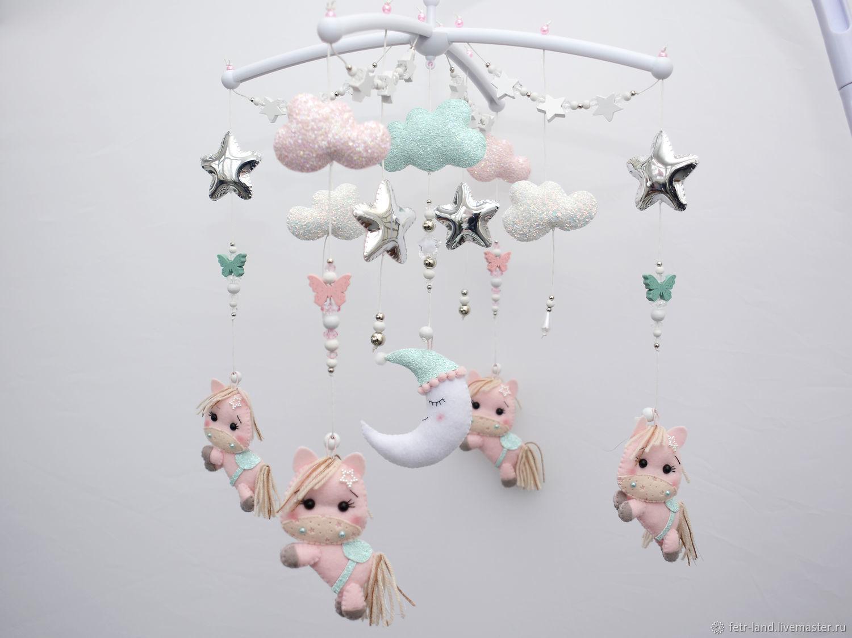 Children's mobile on the crib Horses Ponies Moon Stars, Toys for cribs, Belgorod,  Фото №1