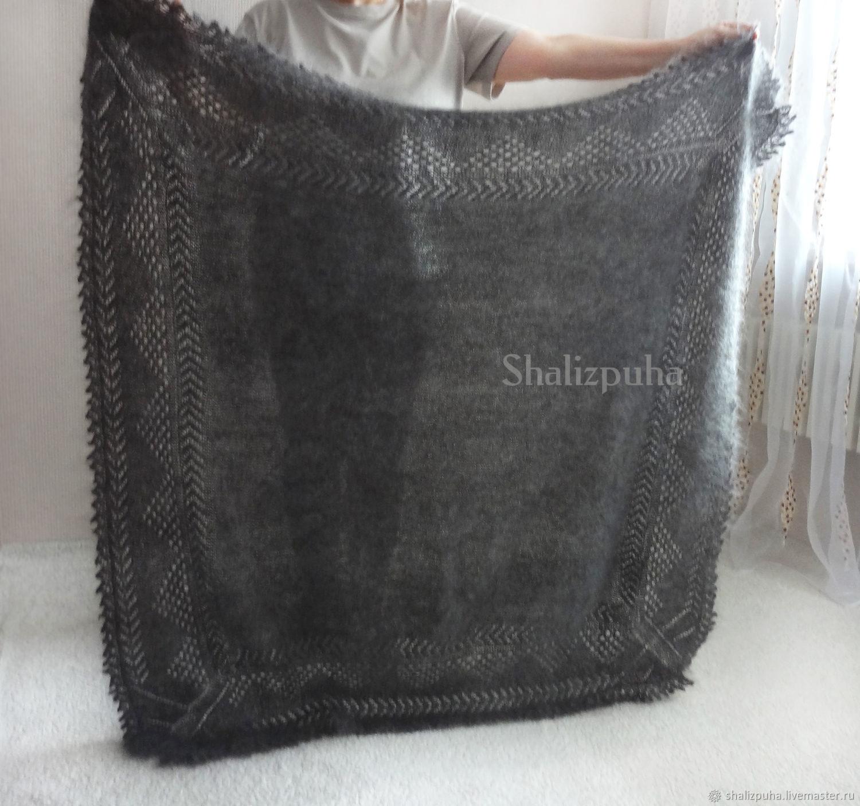 warm hand-knitted down shawl 130h130 cm, 145, Shawls, Orenburg,  Фото №1