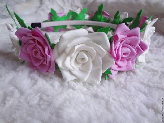"""Диадемы, обручи ручной работы. Ярмарка Мастеров - ручная работа. Купить Ободок из фоама """"Розы"""". Handmade. Розовый, розочки, цветы"""