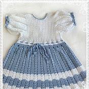 "Работы для детей, handmade. Livemaster - original item Knitted baby dress for baby girl ""Blue tenderness"". Handmade."