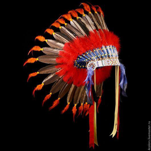 Аксессуары для фотосессий ручной работы. Ярмарка Мастеров - ручная работа. Купить Индейский головной убор из перьев. Handmade. Индейский