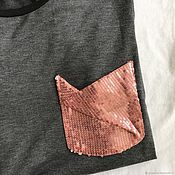 Одежда handmade. Livemaster - original item T-shirt with shiny pocket. Handmade.