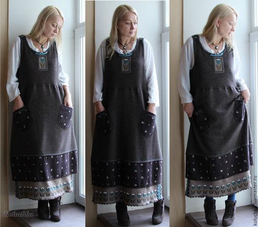 Платья ручной работы. Ярмарка Мастеров - ручная работа. Купить Уютный. Handmade. Теплый сарафан, мериносовая пряжа