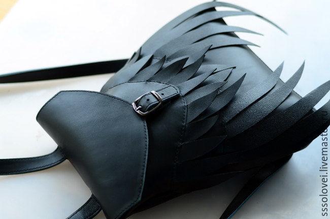 Рюкзак Wings / кожаный черный рюкзачок, Рюкзаки, Москва, Фото №1